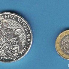 Monedas antiguas de Europa: PLATA-INGLATERRA. 5 POUND 2016. 2 ONZAS DE PLATA PURA. LEÓN DE ENGLAND. Lote 194367801