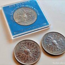 Monedas antiguas de Europa: GRAN BRETAÑA 3 MONEDAS 1980 REINA ISABEL MADRE 80TH CUMPLEAÑOS CORONA. Lote 194530105