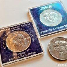 Monedas antiguas de Europa: ROYAL WEDDING COMMEMORATIVE CROWN 1981 LADY DIANA SPENCER AND PRINCE OF WALES 3 MONEDAS. Lote 194530445