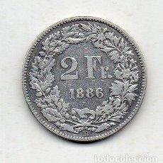 Monedas antiguas de Europa: SUIZA. 2 FRANCOS. AÑO 1886. PLATA.. Lote 194573070