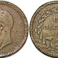 Monedas antiguas de Europa: MONEDA DE MONACO 1.838 , 1 DECIME ,HONORE V, VF+. Lote 194580715
