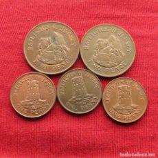 Monedas antiguas de Europa: JERSEY 5 MONEDAS TODAS DIFERENTES 1 2 PENCE 1986 1989 1998 2008. Lote 194587352