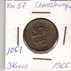 Monedas antiguas de Europa: CHECOSLOVAQUIA 3 CORONAS 1966. Lote 194613503