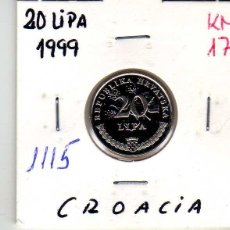 Monedas antiguas de Europa: CROACIA 20 LIPAS 1999. Lote 194632573