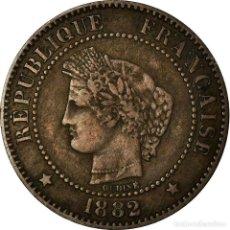 Monedas antiguas de Europa: MONEDA, FRANCIA, CÉRÈS, 2 CENTIMES, 1882, PARIS, BC+, BRONCE, KM:827.1. Lote 194688052