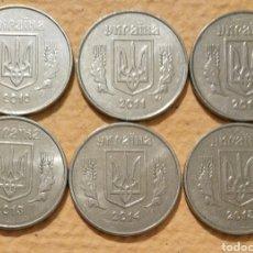 Monedas antiguas de Europa: 6 MONEDAS DE 5 KOPEKS DE UCRANIA. AÑOS CONSECUTIVOS 2010-2015. Lote 194727483
