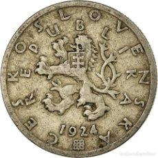 Monedas antiguas de Europa: MONEDA, CHECOSLOVAQUIA, 50 HALERU, 1924, BC+, COBRE - NÍQUEL, KM:2. Lote 194743643
