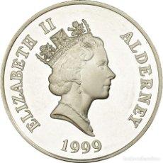 Monedas antiguas de Europa: MONEDA, ALDERNEY, ELIZABETH II, 5 POUNDS, 1990, PROOF, SC, PLATA, KM:20. Lote 194744080