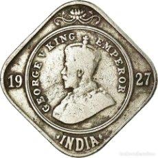 Monedas antiguas de Europa: MONEDA, INDIA BRITÁNICA, GEORGE V, 2 ANNAS, 1927, BC+, COBRE - NÍQUEL, KM:516. Lote 194744113