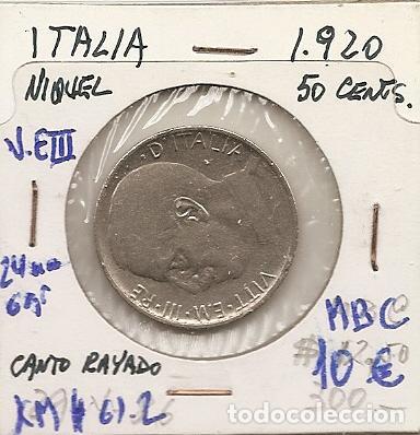 ITALIA 1920. MONEDA DE 50 CENTIMOS DE VITTORIO EMANUELE III. CANTO RALLADO. MBC (Numismática - Extranjeras - Europa)