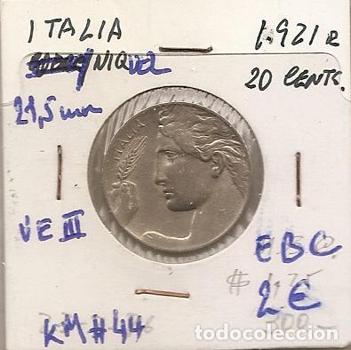 ITALIA 1921R. MONEDA DE 20 CENTIMOS DE VITTORIO EMANUELE III. EBC (Numismática - Extranjeras - Europa)