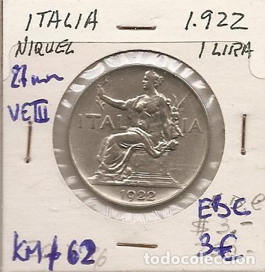 ITALIA 1922. MONEDA DE 1 LIRA DE VITTORIO EMANUELE III. EBC+ (Numismática - Extranjeras - Europa)