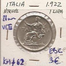 Monedas antiguas de Europa: ITALIA 1922. MONEDA DE 1 LIRA DE VITTORIO EMANUELE III. EBC+. Lote 194882505