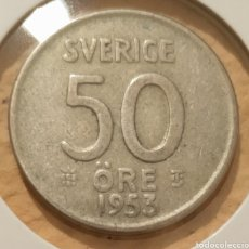 Monedas antiguas de Europa: MONEDA SUECIA PLATA. 50 ÖRE 1953.. Lote 194890555