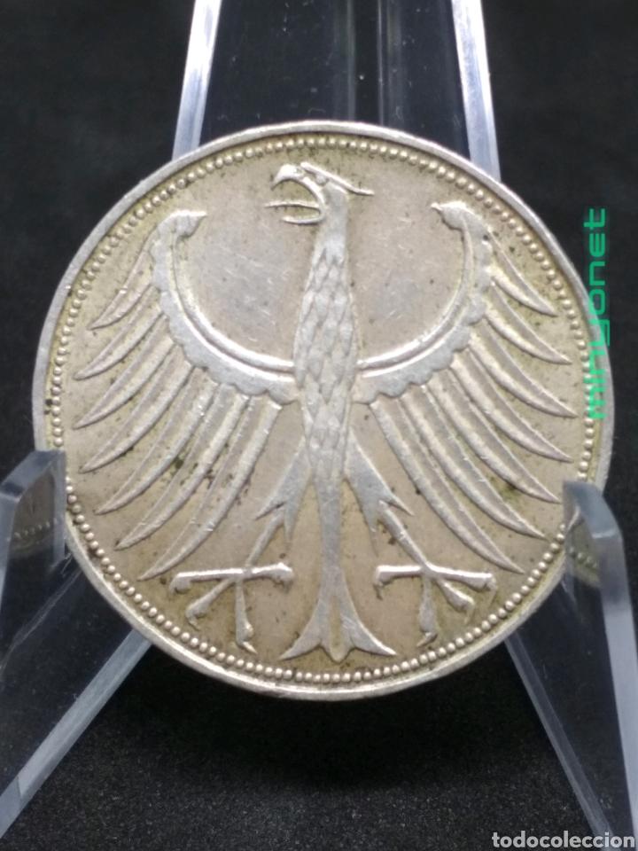 Monedas antiguas de Europa: Moneda 5 Marcos Deutsche Mark 1951 D plata Alemania Federal - Foto 2 - 194894501
