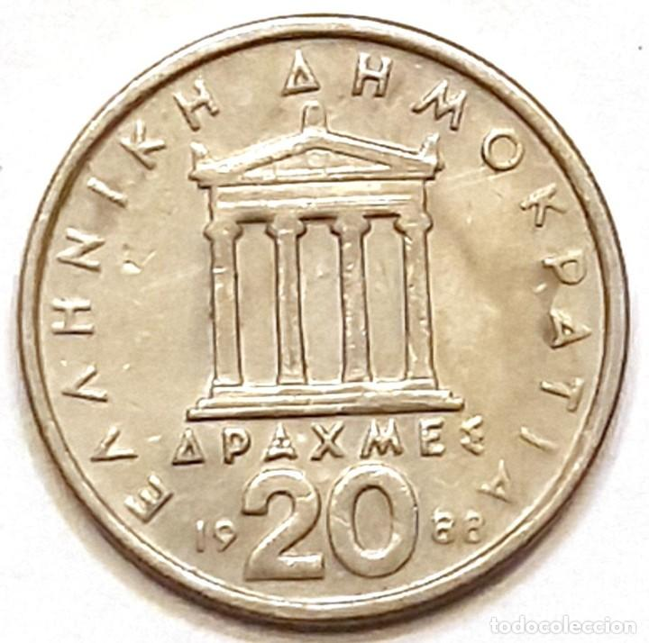 Monedas antiguas de Europa: MONEDA DE GRECIA 20 DRACMAS 1988 - Foto 2 - 194903227