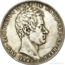 Monedas antiguas de Europa: MONEDA, ESTADOS ITALIANOS, SARDINIA, CARLO ALBERTO, 5 LIRE, 1842, GENOA, MBC. Lote 194905042