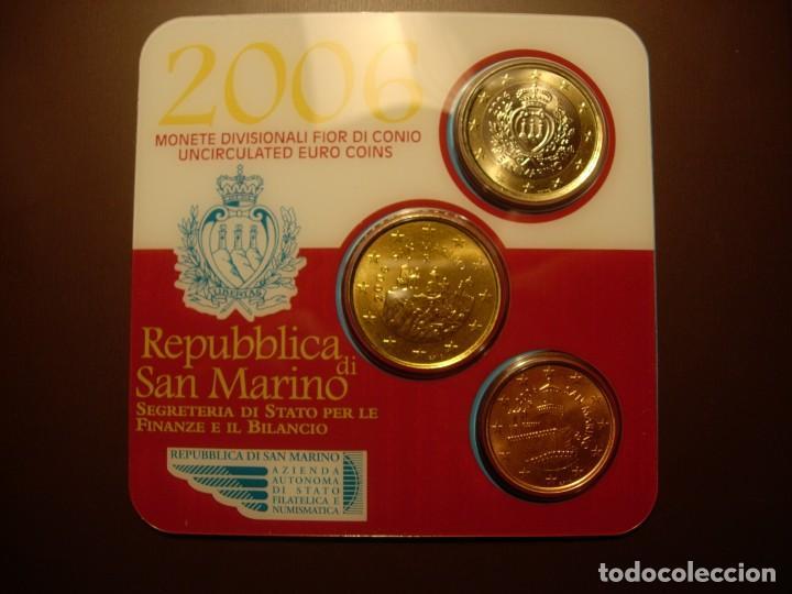 SAN MARINO, SET OFICIAL DE 3 MONEDAS AÑO 2006 S/C (Numismática - Extranjeras - Europa)