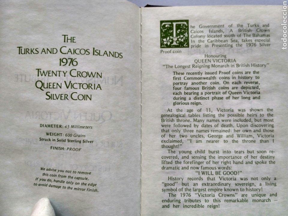 Monedas antiguas de Europa: The Turks and Caicos Islands - 20 coronas de plata 1976 Homenaje a la Reina Victoria - Foto 3 - 194925516