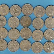 Monedas antiguas de Europa: INGLATERRA.28 MONEDAS DE 1 SHILLING, 28 DIFERENTES, 8 MODELOS . Lote 194945418