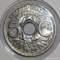 Monedas antiguas de Europa: FRANCIA. 5 CENTIMES 1922. SC.. Lote 195006841