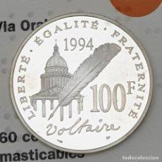 Monedas antiguas de Europa: 100 FRANCOS 1994 FRANCIA VOLTAIRE PLATA PROOF. Lote 195212566