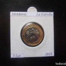 Monedas antiguas de Europa: MOLDAVIA 2018, 5 LEI, BIMETALICA, LA ESTRELLA, SC-UNC. Lote 195280977