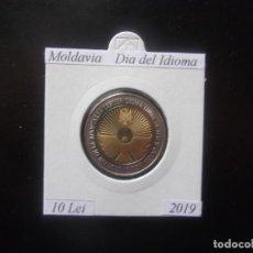 Monedas antiguas de Europa: MOLDAVIA 2019, 10 LEI, BIMETALICA, DIA DEL IDIOMA, SC-UNC. Lote 195281153