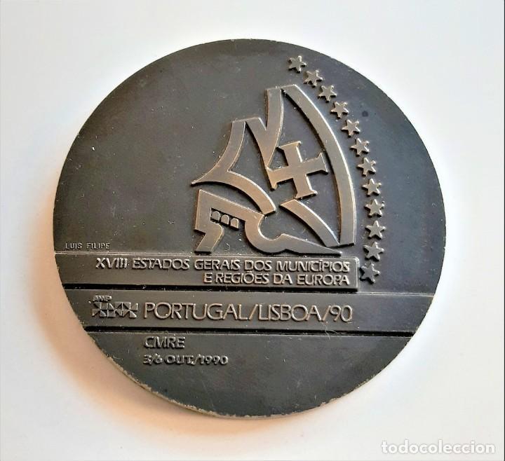 Monedas antiguas de Europa: MEDALLON BRONCE PORTUGAL LISBOA 1990 XVIII ESTADOS GERAIS DOS MUNICIPIOS E REGIOES DA EUROPA- 60.MM - Foto 2 - 195312147