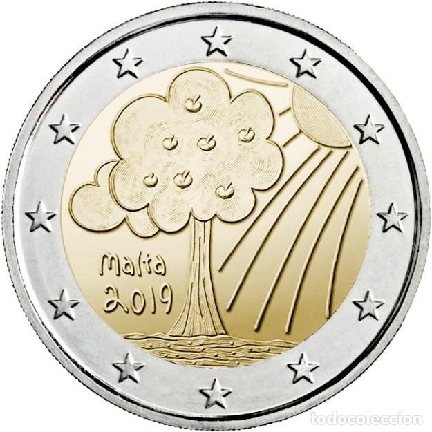 MALTA 2 EURO 2019 LA NATURALEZA Y EL MEDIO AMBIENTE -LOS NIÑOS Y LA SOLIDARIDAD (Numismática - Extranjeras - Europa)