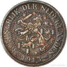 Monedas antiguas de Europa: MONEDA, PAÍSES BAJOS, WILHELMINA I, 2-1/2 CENT, 1913, MBC, BRONCE, KM:150. Lote 195346186