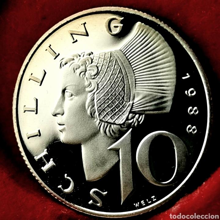 PROOF, 39000EJ. AUSTRIA 10 SCHILLING 1988 (Numismática - Extranjeras - Europa)