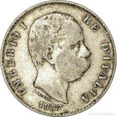 Monedas antiguas de Europa: MONEDA, ITALIA, UMBERTO I, LIRA, 1887, MILAN, BC+, PLATA, KM:24.2. Lote 195362683