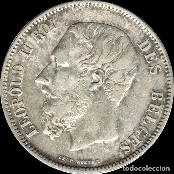Monedas antiguas de Europa: Belgica 5 Francos 1869 Léopold II plata 25 grs - DES BELGES - Foto 2 - 195386895