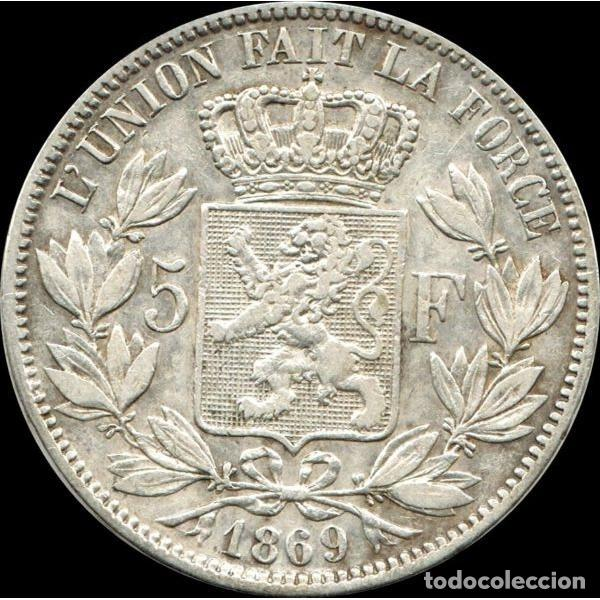 BELGICA 5 FRANCOS 1869 LÉOPOLD II PLATA 25 GRS - DES BELGES (Numismática - Extranjeras - Europa)
