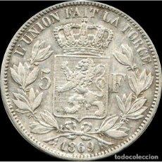Monedas antiguas de Europa: BELGICA 5 FRANCOS 1869 LÉOPOLD II PLATA 25 GRS - DES BELGES. Lote 195386895