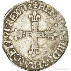 Monedas antiguas de Europa: MONEDA, FRANCIA, HENRI III, 1/4 D'ÉCU À LA CROIX DE FACE, 1582, NANTES, BC+. Lote 195435937