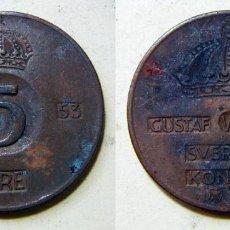Monedas antiguas de Europa: MONEDA DE SUECIA 5 ORE 1953. Lote 195444927