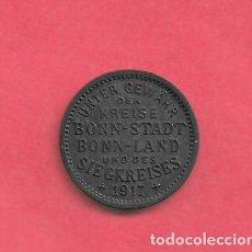 Monedas antiguas de Europa: NOTGELD, BONN SIEGKREIS 10 PFG 1917 ZINC . Lote 195449975