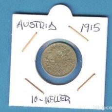 Monedas antiguas de Europa: AUSTRIA. 10 HELLER. 1915. Lote 195513950