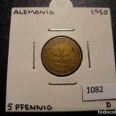 Monedas antiguas de Europa: ALEMANIA 5 PFENNIG 1950 D. Lote 195811752