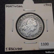Monedas antiguas de Europa: PORTUGAL 1 ESCUDO 1945. Lote 195868848