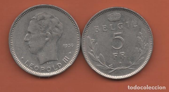 BELGICA # 5 FRANCS 1936 KM109 (Numismática - Extranjeras - Europa)