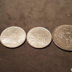 Monedas antiguas de Europa: LOTE DE 4 MONEDAS DE 1/2 , 1, 1 Y 5 FRANCOS FRANCESES.. Lote 198862487