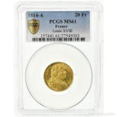 Monedas antiguas de Europa: MONEDA, FRANCIA, LOUIS XVIII, LOUIS XVIII, 20 FRANCS, 1814, PARIS, PCGS, MS61. Lote 199083370