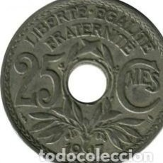 Monedas antiguas de Europa: FRANCIA 25 CENTIMOS LINDAUER 1917.KM# 867.A. Lote 199381811