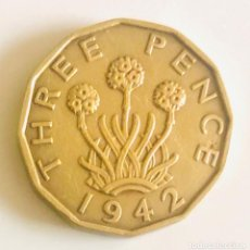 Monedas antiguas de Europa: 3 PENIQUES SEGUNDA GUERRA MUNDIAL INGLATERRA 1942. Lote 200296640