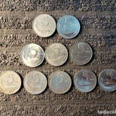 Monedas antiguas de Europa: ITALIA - 5 LIRAS DELFIN, DE 1951 A 1991, LOTE DE 10 MONEDAS. Lote 200324277