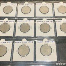 Monedas antiguas de Europa: ALEMANIA LOTE DE 11 MONEDAS DE 2 MARK DE DIFERENTES AÑOS. Lote 201232466