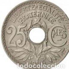 Monedas antiguas de Europa: FRANCIA 25 CENTIMOS LINDAUER 1915 SUBRAYADA CMES. ESCASA KM# 867. Lote 201673275
